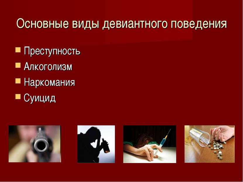 Основные виды девиантного поведения Преступность Алкоголизм Наркомания Суицид