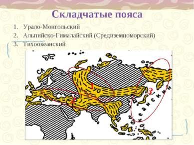 Складчатые пояса Урало-Монгольский Альпийско-Гималайский (Средиземноморский) ...