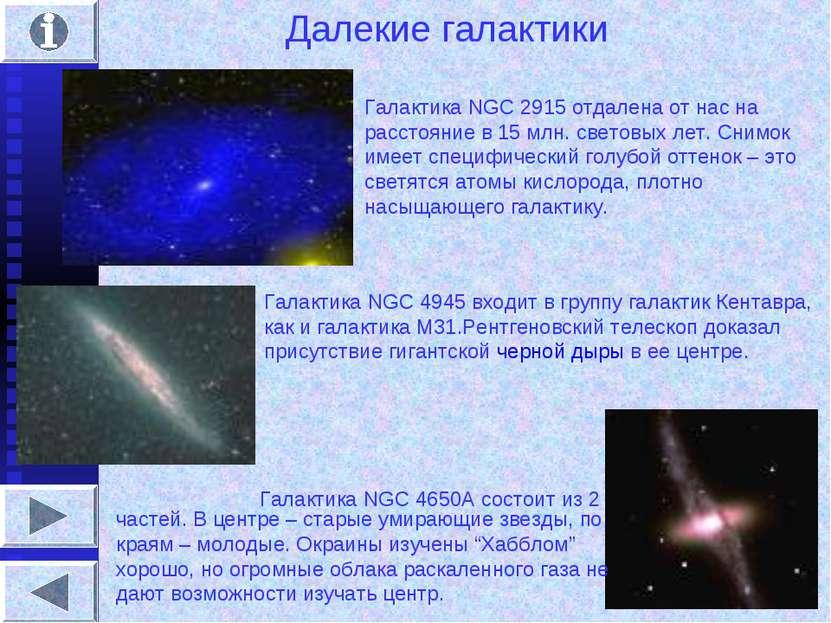 Далекие галактики Галактика NGC 2915 отдалена от нас на расстояние в 15 млн. ...