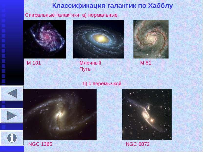 Классификация галактик по Хабблу Спиральные галактики: а) нормальные М 101 Мл...