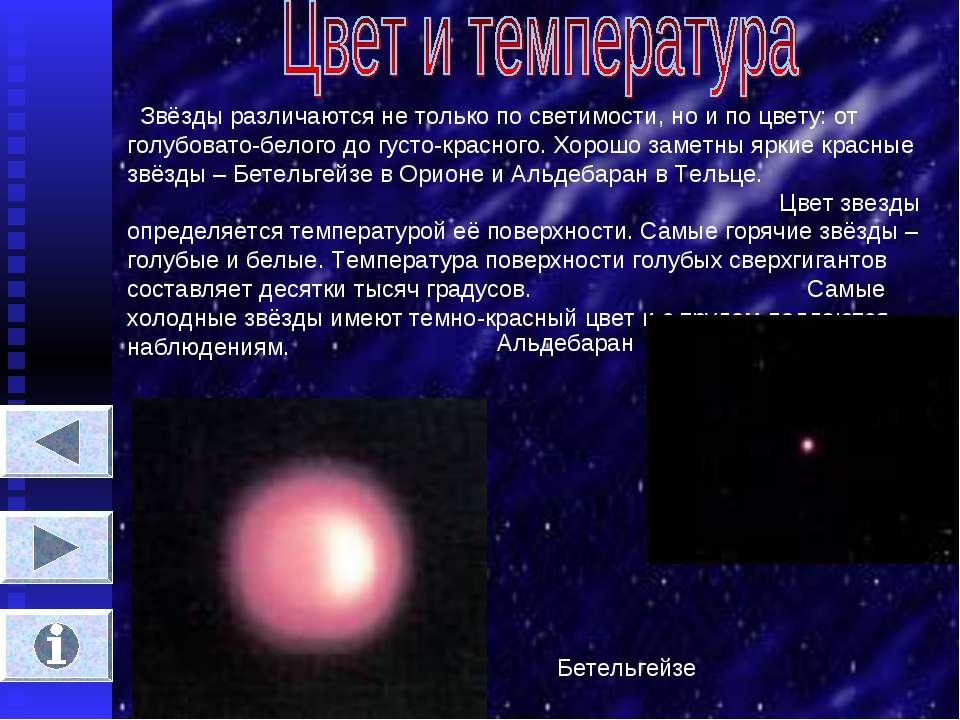 Звёзды различаются не только по светимости, но и по цвету: от голубовато-бело...