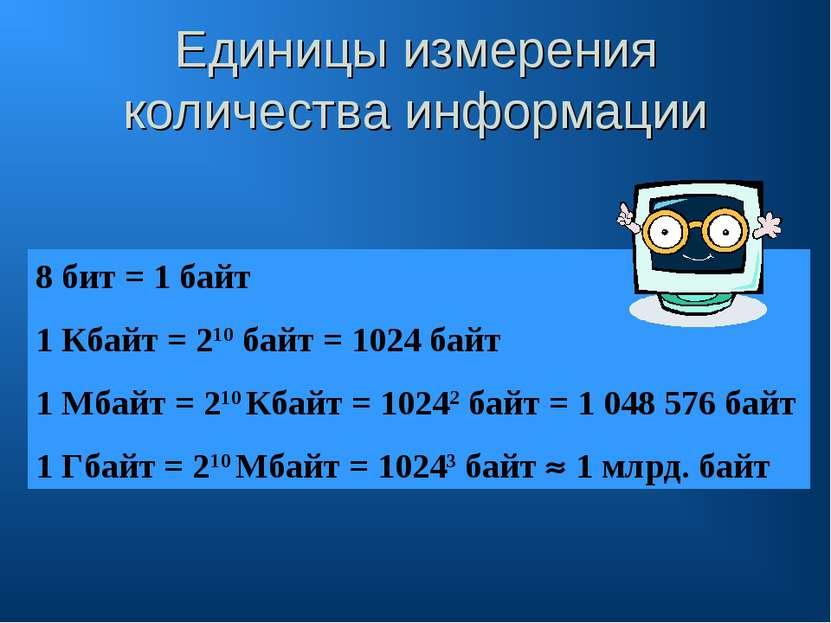 Единицы измерения количества информации 8 бит = 1 байт 1 Кбайт = 210 байт = 1...