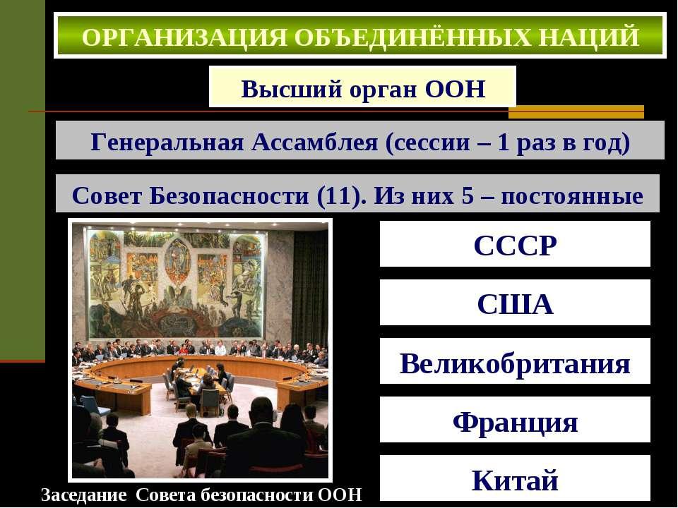 Высший орган ООН Генеральная Ассамблея (сессии – 1 раз в год) Совет Безопасно...