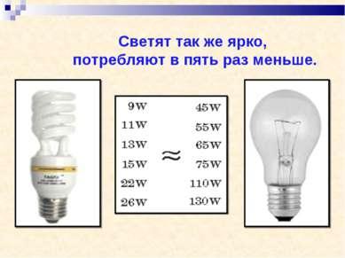 Светят так же ярко, потребляют в пять раз меньше.