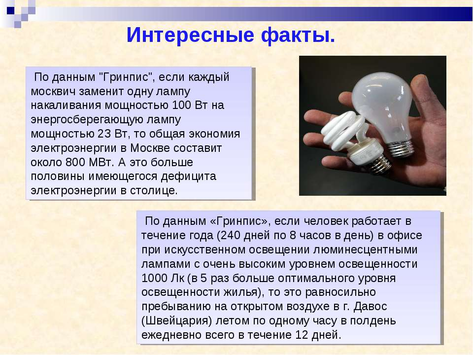 """По данным """"Гринпис"""", если каждый москвич заменит одну лампу накаливания мощно..."""