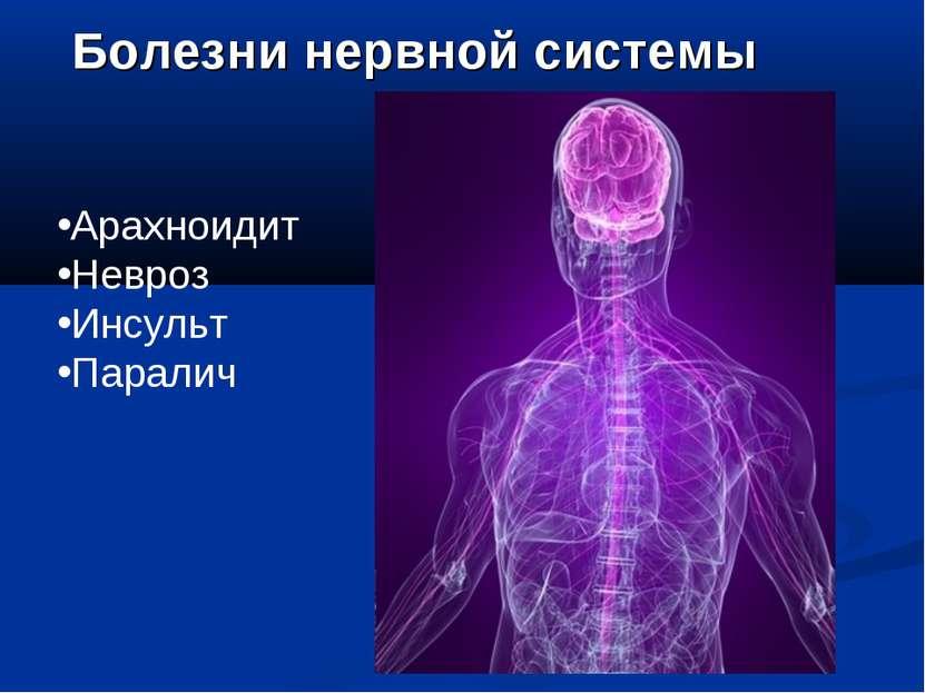 Болезни нервной системы Арахноидит Невроз Инсульт Паралич