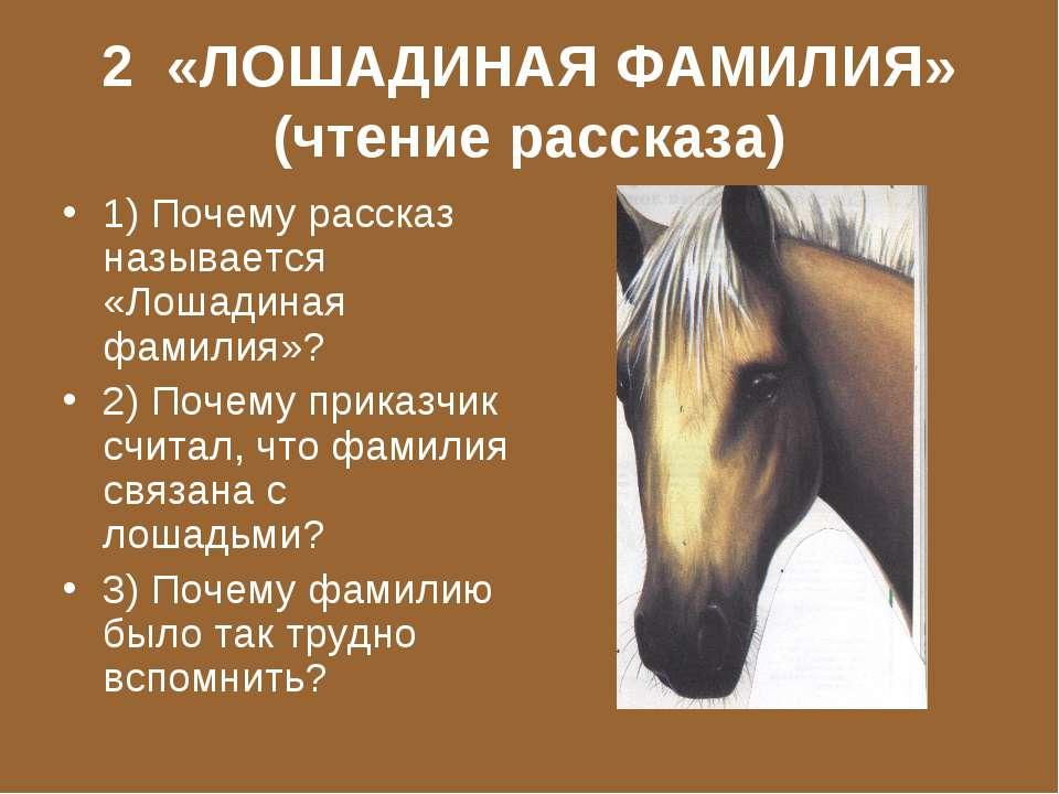 2 «ЛОШАДИНАЯ ФАМИЛИЯ» (чтение рассказа) 1) Почему рассказ называется «Лошадин...