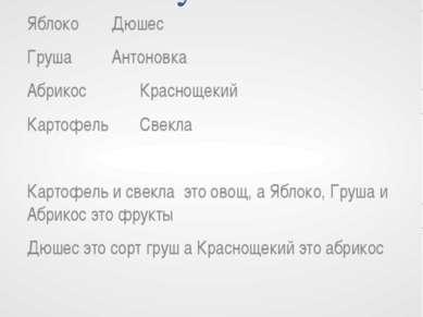 Связи, которые можно установить Яблоко Дюшес Груша Антоновка Абрикос Красноще...