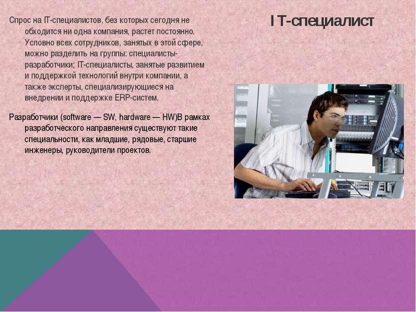IT-специалист Спрос на IT-специалистов, без которых сегодня не обходится ни о...