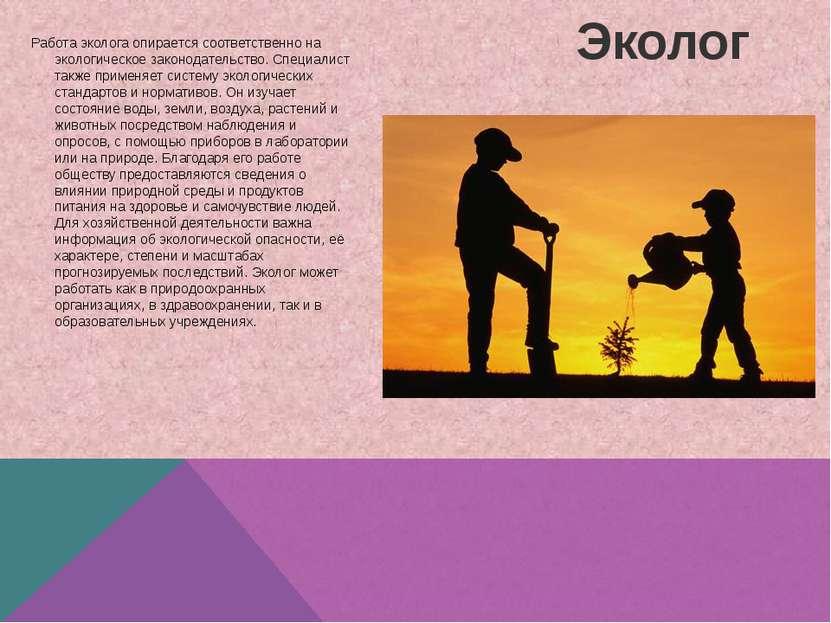 Эколог Работа эколога опирается соответственно на экологическое законодательс...