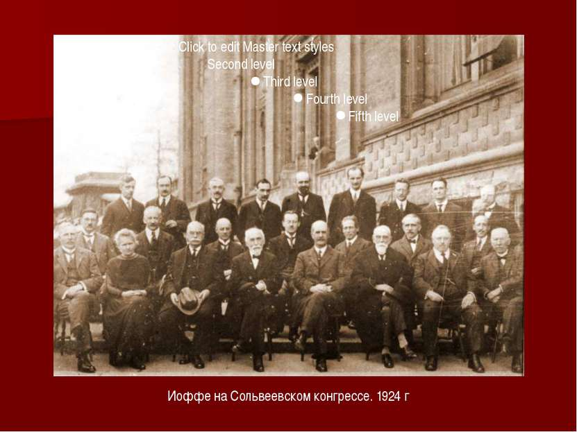 Иоффе на Сольвеевском конгрессе. 1924 г