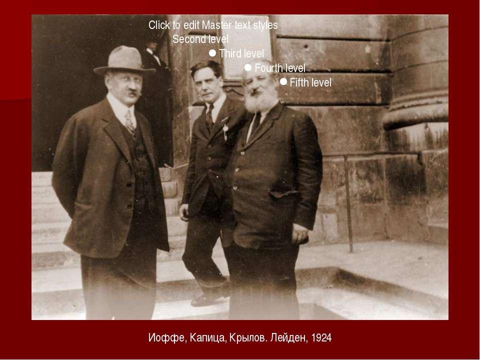 Иоффе, Капица, Крылов. Лейден, 1924