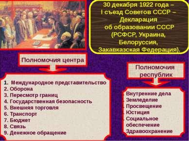 30 декабря 1922 года – I съезд Советов СССР – Декларация об образовании СССР ...