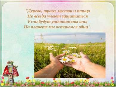 """""""Дерево, трава, цветок и птица Не всегда умеют защититься Если будут уничтоже..."""