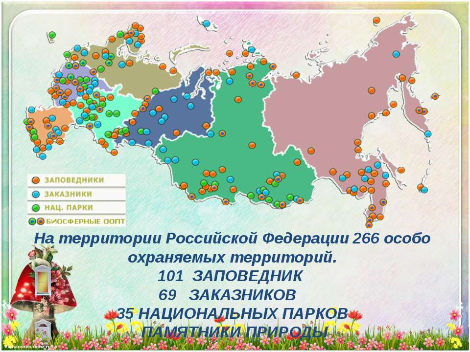 На территории Российской Федерации 266 особо охраняемых территорий. 101 ЗАПОВ...