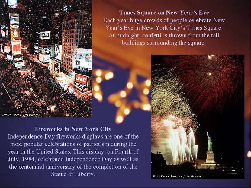 Times Square on New Year's Eve Each year huge crowds of people celebrate New ...
