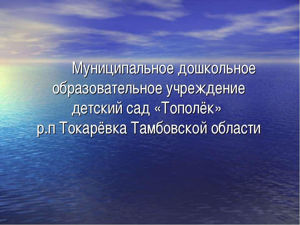 Муниципальное дошкольное образовательное учреждение детский сад «Тополёк» р.п...