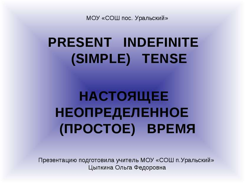 PRESENT INDEFINITE (SIMPLE) TENSE НАСТОЯЩЕЕ НЕОПРЕДЕЛЕННОЕ (ПРОСТОЕ) ВРЕМЯ МО...