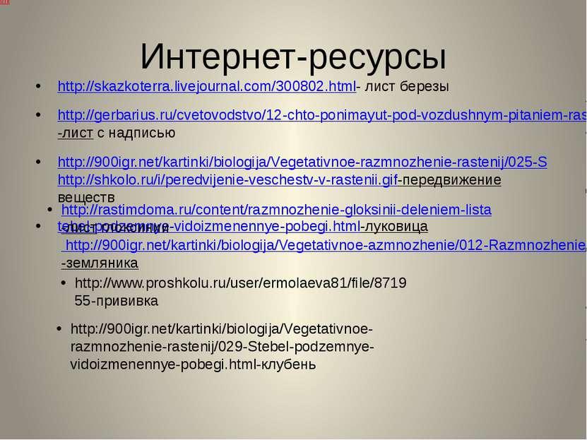 Интернет-ресурсы http://skazkoterra.livejournal.com/300802.html- лист березы ...