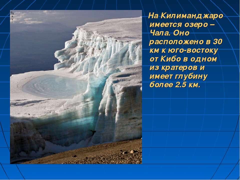 На Килиманджаро имеется озеро –Чала. Оно расположено в 30 км к юго-востоку от...
