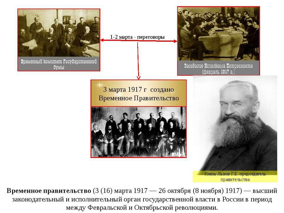 Временное правительство (3 (16) марта 1917— 26 октября (8 ноября) 1917)— вы...