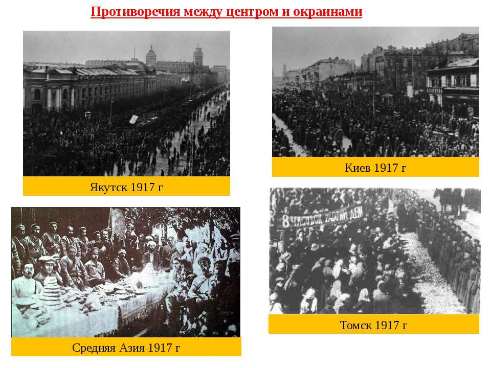 Противоречия между центром и окраинами Киев 1917 г Якутск 1917 г Томск 1917 г...