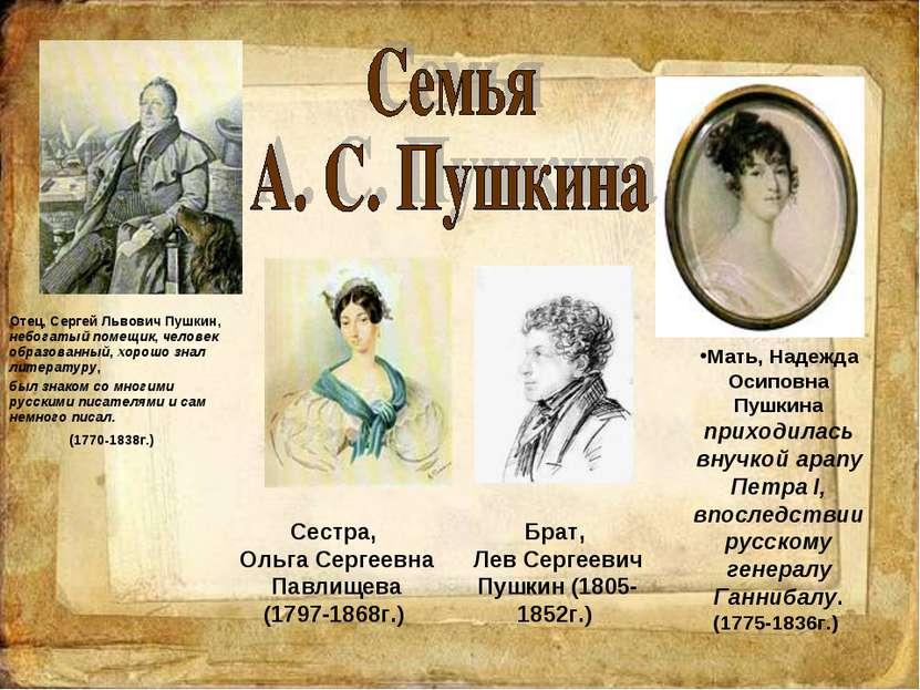 Отец, Сергей Львович Пушкин, небогатый помещик, человек образованный, хорошо ...