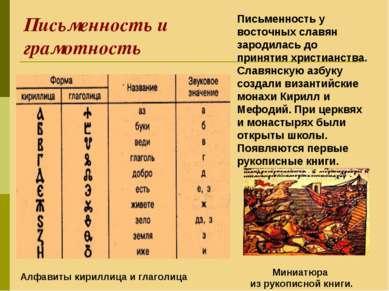 Письменность и грамотность Письменность у восточных славян зародилась до прин...
