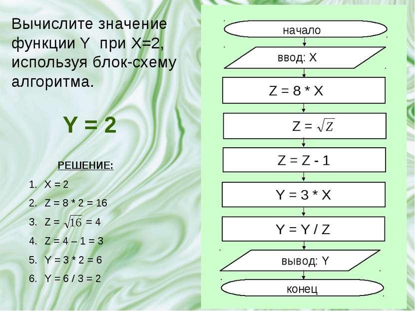 Вычислите значение функции Y при X=2, используя блок-схему алгоритма. Y = 2