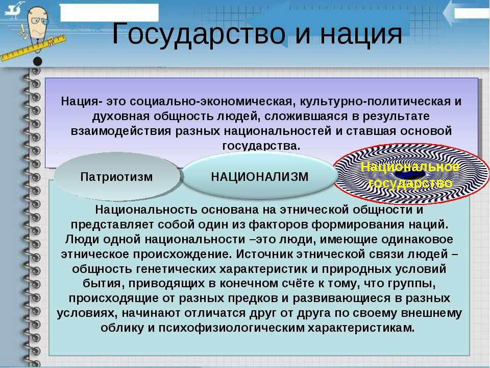 Государство и нация Нация- это социально-экономическая, культурно-политическа...