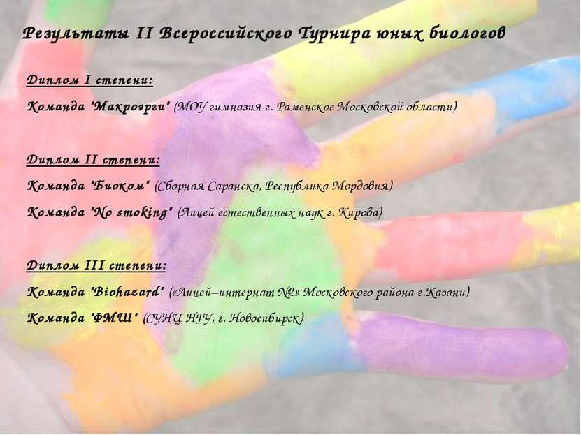 Результаты II Всероссийского Турнира юных биологов Диплом I степени: Команда ...