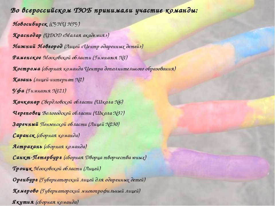 Во всероссийском ТЮБ принимали участие команды: Новосибирск (СУНЦ НГУ) Красно...