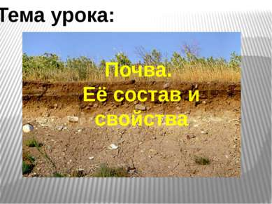 Почва. Её состав и свойства Тема урока: