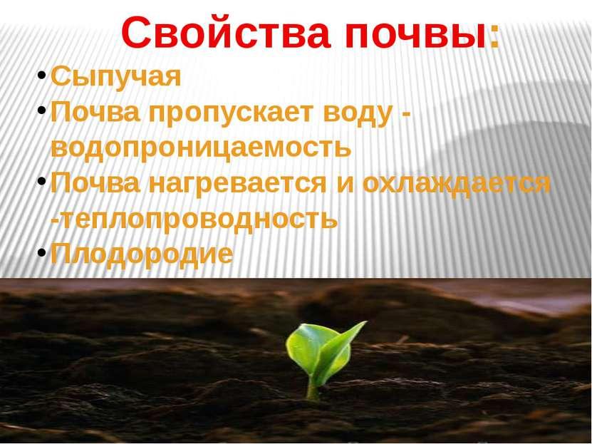 Свойства почвы: Сыпучая Почва пропускает воду - водопроницаемость Почва нагре...