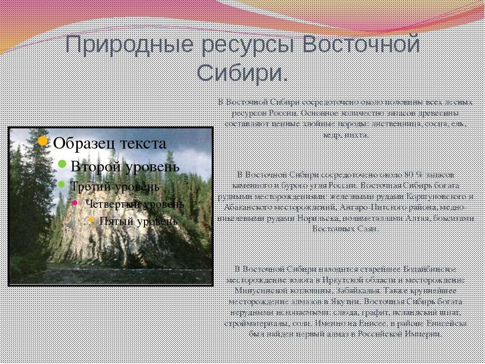 Природные ресурсы Восточной Сибири. В Восточной Сибири сосредоточено около по...