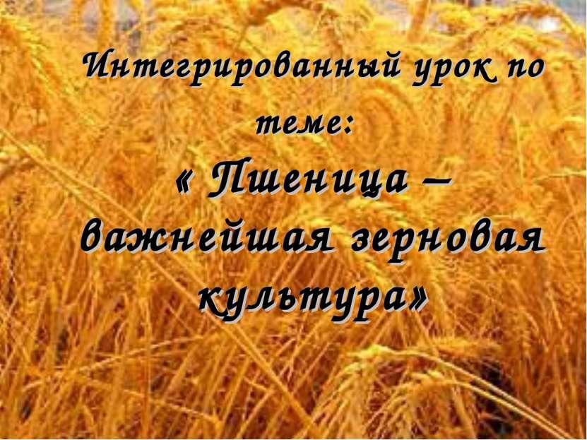 Интегрированный урок по теме: « Пшеница – важнейшая зерновая культура»