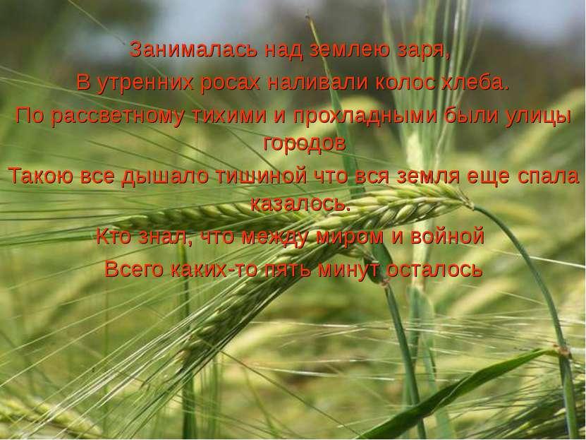 Занималась над землею заря, В утренних росах наливали колос хлеба. По рассвет...