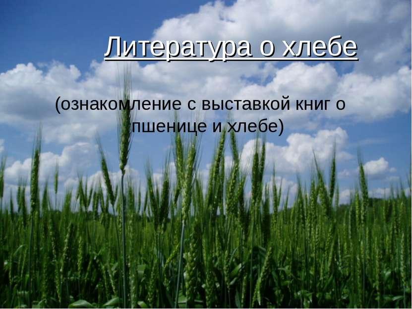 Литература о хлебе (ознакомление с выставкой книг о пшенице и хлебе)