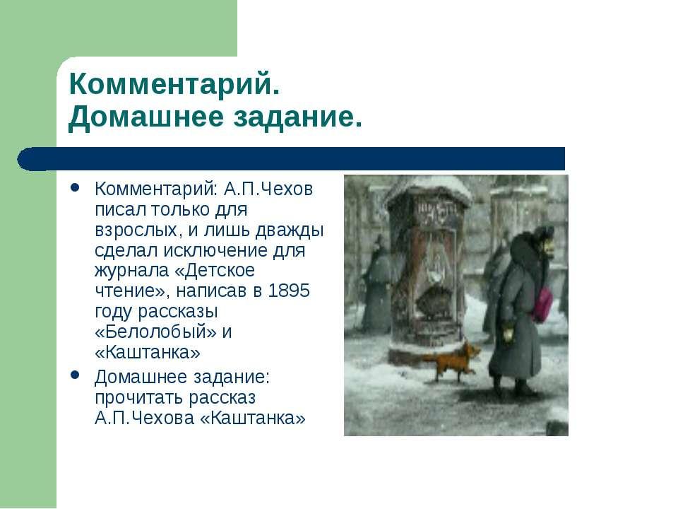 Комментарий. Домашнее задание. Комментарий: А.П.Чехов писал только для взросл...