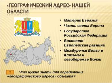Материк Евразия Часть света Европа Государство Российская Федерация Восточно-...