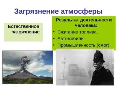Загрязнение атмосферы Естественное загрязнение Результат деятельности человек...