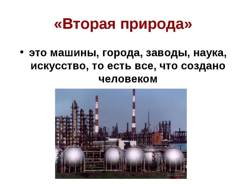 «Вторая природа» это машины, города, заводы, наука, искусство, то есть все, ч...