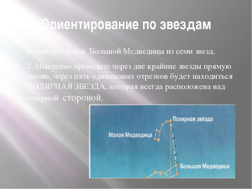 Ориентирование по звездам 1. Найдите ковш Большой Медведицы из семи звезд. 2....