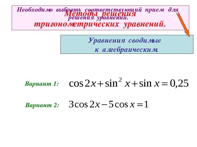 Методы решения тригонометрических уравнений. Уравнения сводимые к алгебраичес...