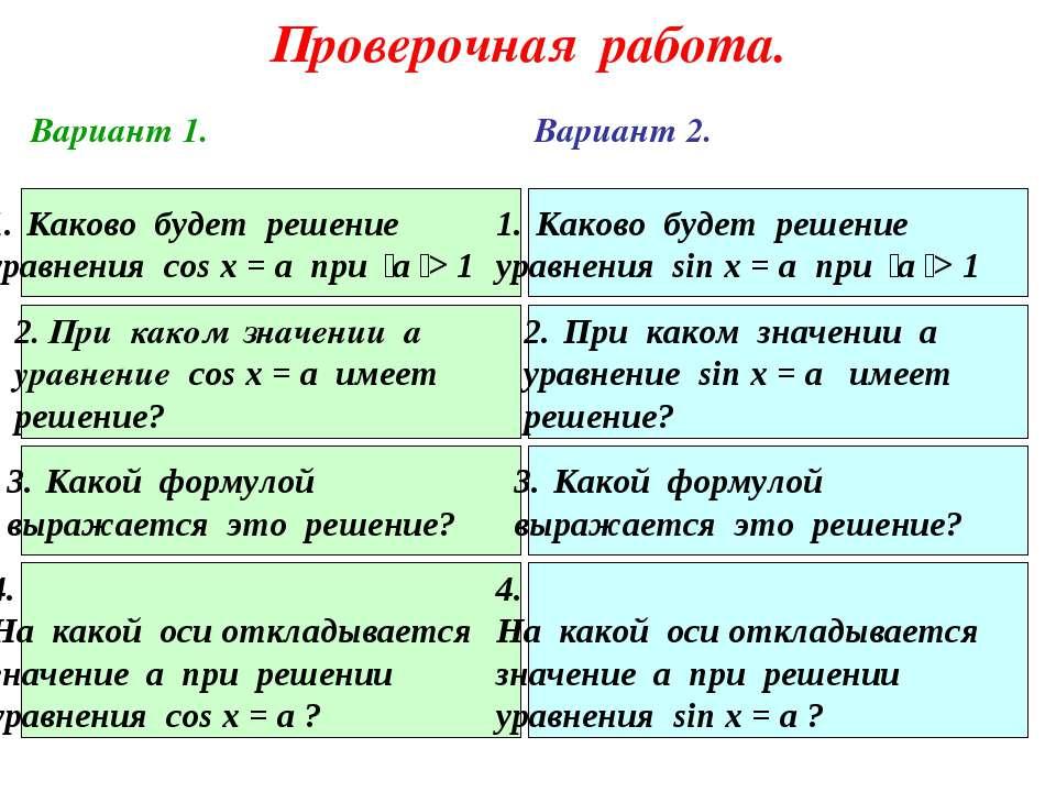 Проверочная работа. Каково будет решение уравнения cos x = a при а > 1 Каково...