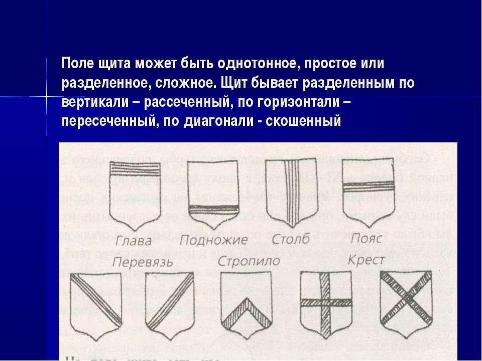 Поле щита может быть однотонное, простое или разделенное, сложное. Щит бывает...