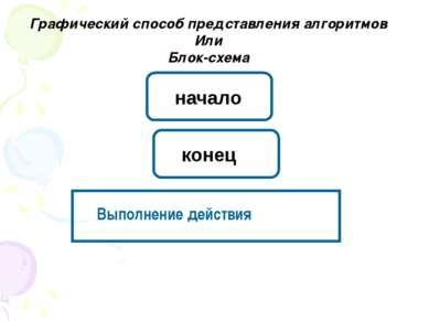 Графический способ представления алгоритмов Или Блок-схема Выполнение действи...