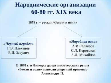 1879 г. – раскол «Земли и воли» В 1878 г. в Липецке дезорганизаторская группа...
