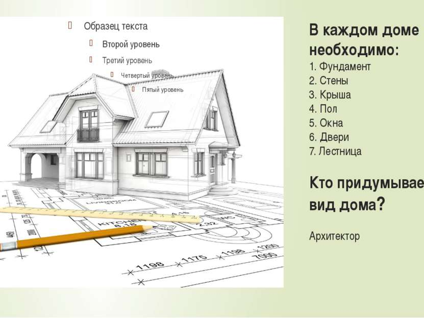 В каждом доме необходимо: 1. Фундамент 2. Стены 3. Крыша 4. Пол 5. Окна 6. Дв...