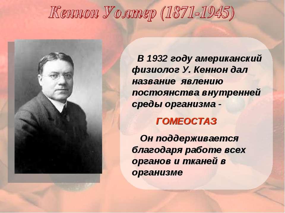 В 1932 году американский физиолог У. Кеннон дал название явлению постоянства ...